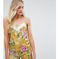 New Look Tall Floral Satin Cami Top In Yellow Pattern - Yellow Pattern