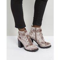 Qupid Heel Velvet Hiker Boot - Grey crushed velvet