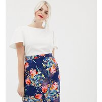 Paper Dolls Plus 2 In 1 Midi Pencil Dress with Printed Skirt - White/navy