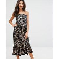 WarehouseWarehouse Strapless Premium Lace Dress - Black