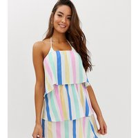 PrettyLittleThing layered beach dress in pastel candy stripe - Multi