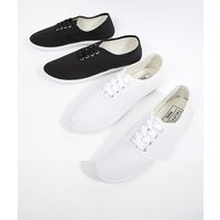 Truffle Collection 2 Pack Lace Up Plimsolls - Black
