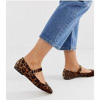 ASOS DESIGN Links mary jane ballet flats in leopard - Leopard velvet