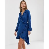 QED London denim frill front dress in mid wash blue - Mid wash blue