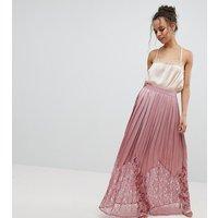 Little Mistress Petite Lace Pleated Maxi Skirt - Rose