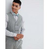 ASOS DESIGN wedding skinny suit waistcoat in khaki cross hatch - Khaki
