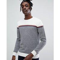 Jersey de punto color crema con diseño en zig zag de mezcla de alpaca de Antony Morato
