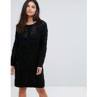 QED LondonQED London Chunky Knit Jumper Dress - Black