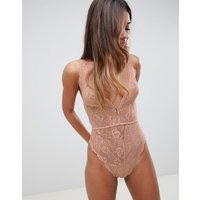 Asos Design Blair High Leg Lace Bodysuit With Lace Up Back - Nude