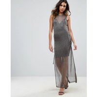 Wow CoutureWOW Couture Metallic Crochet Knitted Lace Up Side Maxi Dress - Charcoal