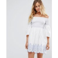 Miss SelfridgeMiss Selfridge Bardot Embroidered Dress - Ivory