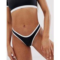 Free Society contrast binding high leg bikini bottom in black - Black