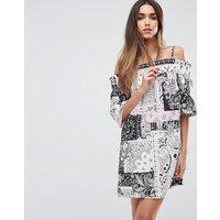 ASOSASOS Cotton Off Shoulder Dress in Bandana Print - Multi