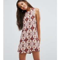 Glamorous TallGlamorous Tall Sleeveless Shift Dress Pink Tile Print - Multi