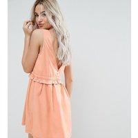 Noisy May PetiteNoisy May Petite Drawstring Dress With Button Back Detail - Peach
