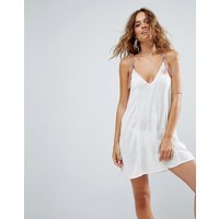 ASOSASOS Beach Swing Dress with Neon Plait Tassels - Cream