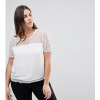 Lipsy Curve Lace Top - Cream