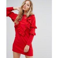 SuncooSuncoo Frill Knit Jumper Dress - Red