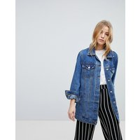 New Look Longline Denim Jacket - Mid blue