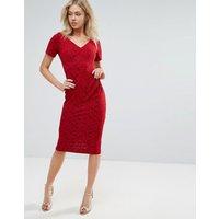 VesperVesper Short Sleeve Midi Dress - Red rose sparkle