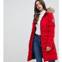 Brave Soul Tall whitehorse padded parka coat - Red