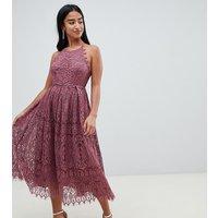 ASOS DESIGN Petite lace pinny scallop edge prom midi dress