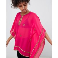 QED London Embellished Chiffon Top - Fuschia