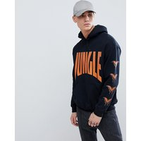 French Montana jungle hoodie in black with back print - Black