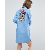 ASOSASOS Pinstripe Shirt Dress with Embroidery and Badge Details - Multi