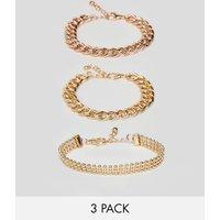 Pack de 3 pulseras con diseño de cadena de tamaños variados de ASOS DESIGN