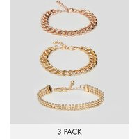 Asos Design Pack Of 3 Bracelets In Mixed Size Chain Design - Multi