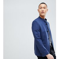 Noak Skinny Button Through Blazer In Jersey - Navy