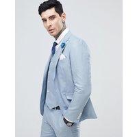 Gianni Feraud Wedding Slim Fit Linen Plain Suit Jacket - Blue