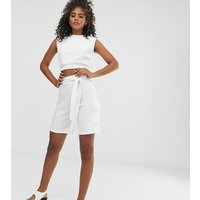 Missguided Tall co-ord ribbed shorts in white - White