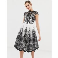 Chi Chi London premium lace midi prom dress with bardot neck in mono