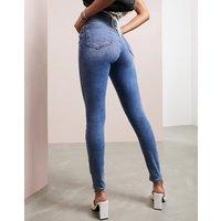 ASOS DESIGN Ridley high waisted skinny jeans in pretty mid stonewash blue - Pretty stonewash blu