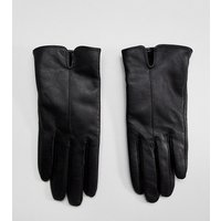 Accessorize Black Leather Gloves - Black