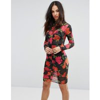 MissguidedMissguided High Neck Floral Ruched Bodycon Dress - Black