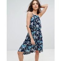 QED LondonQED London Floral Printed Midi Dress - Navy