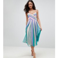 ASOS TALL Colourblock Mesh Fit and Flare Midi Dress - Mint