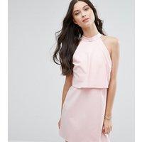 ASOS PetiteASOS PETITE Mini Dress with Crop Top Layer and High Neck - Nude