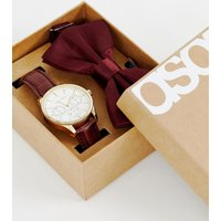ASOS DESIGN gift set with watch and bow tie in burgundy - Brown/burgundy