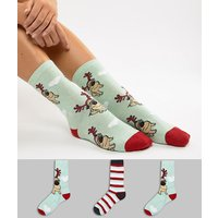 Sock Shop 3 Pack Rudolf Pug Crew Socks - Green