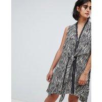 AllSaints Jayda Zebra Dress in Silk - Oyster