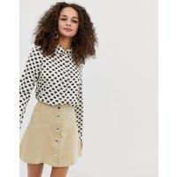 Brave Soul heart print long sleeved shirt - Cream/black