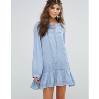 Somedays Lovin Eldora Festival Smock Dress With Frill Hem - Dusty blue
