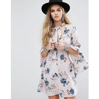Honey PunchHoney Punch Button Front Tea Dress With Flared Sleeves And Tie Neck Detail In Floral - Mauve