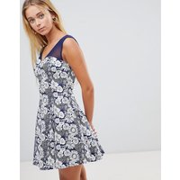 QED London Floral Skater Dress With Mesh Insert - Navy eclipse