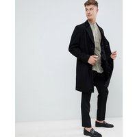 French Connection premium wool blend overcoat with velvet collar - Black