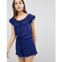 Brave Soul Candy Playsuit with Frill Off Shoulder - Navy